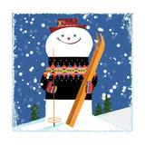 Snowman Blue Giclee Print