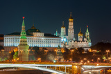 Evening in Moscow. Night View of the Kremlin and Bridge Illuminated by Lights. Photographic Print by Bychykhin Olexandr