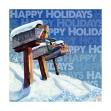 Mailboxes In The Snow Happy Holidays Giclee Print
