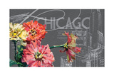 Floral Travel Chicago Giclee Print