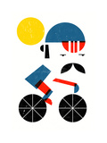 Moustached Cyclist Giclee Print by Dale Edwin Murray