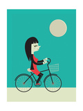 Girl on a Bike Giclee Print by Jeremie Claeys