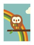Owl and Rainbow Giclee Print by Dicky Bird