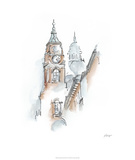 European Watercolor Sketches I Limited Edition by Ethan Harper
