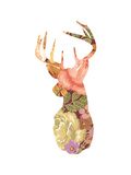 Floral Stag Giclee Print by Moha London