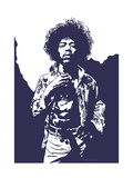 Jimi Hendrix - Purple Haze Giclée-tryk af Emily Gray