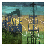 Oil Rig & Oil Well Collage Giclee Print by Sisa Jasper