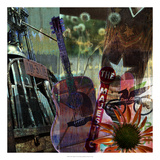 Guitar Collage Giclee Print by Sisa Jasper