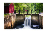 Lock on the D & R Canal, New Jersey Photographic Print by George Oze