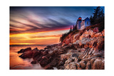 Lighthouse At Sunset, Bass Harbor, Mai Photographic Print by George Oze