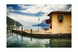 Pier and a Small House, Riva Del Garda, Italy Photographic Print by George Oze