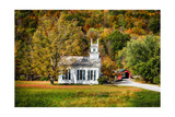 White Church And Red Covered Bridge Photographic Print by George Oze