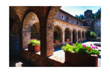 Colonnade Of An Old World Castle In Napa Valley Photographic Print by George Oze