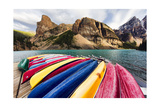 Canoes on a Dock, Alberta, Canada Photographic Print by George Oze