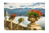 Balustrade With Lake View, Como, Italy Photographic Print by George Oze