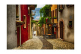 Colorful Street in Malcesine, Lombardy, Italy Photographic Print by George Oze