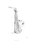 Saxophone Sketch Limited Edition by Ethan Harper