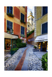 Narrow Street Leading Up To A Church In Portofino Photographic Print by George Oze