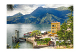 Varenna Harbor on Lake Como, Italy Photographic Print by George Oze