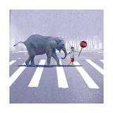 Elephant Crossing Fotografisk tryk af Nancy Tillman