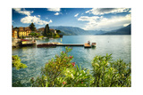 Varenna Harbor View On Lake Como Photographic Print by George Oze