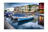 Boats In Lazise Harbor After Sunset Photographic Print by George Oze