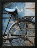 Bicycle Leaning Against Painted Wall Framed Photographic Print by April Maciborka