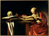 St. Jerome Writing, circa 1604 Framed Canvas Print by  Caravaggio