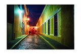 Night Street Scenic In Old San Juan Photographic Print by George Oze