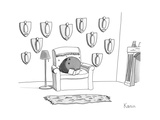 A bowling ball sits in a chair, reading a book, in front of a wall of moun... - New Yorker Cartoon Premium Giclee Print by Zachary Kanin