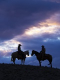Cowboys in Silouette with Sunset Photographic Print by Terry Eggers