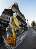 Ayutthaya Wat Yai Chai Mongkol Row of Buddha Statues Photographic Print by Terry Eggers