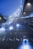 Traffic on Foggy Winter Night, Shanghai, China Photographic Print by Paul Souders