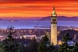 Dramatic Sunset over San Francisco Bay and the Campanile Fotografiskt tryck av  dexchao