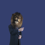 Businessman with Lions Head Photographic Print by  DLILLC