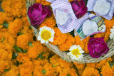Flowers and Candles to Be Released during Ganga Aarti Ceremony Photographic Print by Jon Hicks