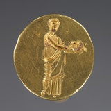 Ancient Greek Gold Ring Engraved with a Muse Holding a Theatrical Mask Photographic Print