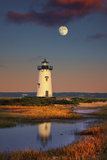 Edgartown Lighthouse at Dusk with the Moon Rising Behind Photographic Print by Jon Hicks