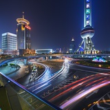 Oriental Pearl TV Tower and Footbridge at Night. Photographic Print by Jon Hicks