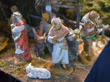 Nativity Figures for Sale in the Pisa Christmas Market, Italy. Photographic Print by Jon Hicks