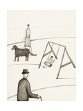 Black and White Drawing of People Taking Walk Outside Giclee Print by Marie Bertrand