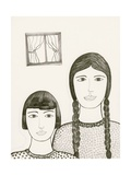 Portrait of Two Girls, Black and White Drawing Giclee Print by Marie Bertrand