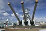 Tourists Looking at Gun Turret on Battleship Missouri Photographic Print by Jon Hicks