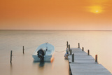 Boat Tied to Dock Photographic Print by  DLILLC