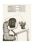 Black and White Drawing of Woman Sitting at Table, Head in Her Arms Giclee Print by Marie Bertrand