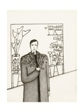 Black and White Drawing of Man Standing with Flowers in Hand Giclee Print by Marie Bertrand