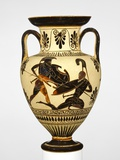 Attic Black-Figure Neck Amphora with Two Warriors Battling Photographic Print