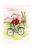 Elephant and Rabbit Riding Bicycles Giclee Print