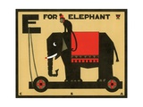 E is for Elephant with Monkey Giclee Print