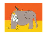 Monkey Giving Elephant A Bath Giclee Print